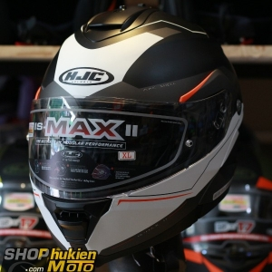 Mũ Bảo Hiểm Lật Cằm (Flip up) HJC IS -Max II (Đen SọcTrắng Cam) (size: M/L/XL)