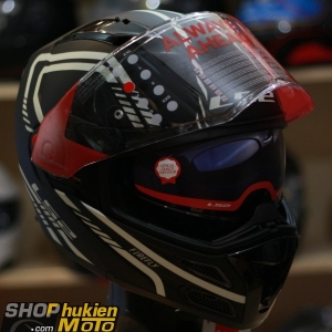 Mũ bảo hiểm Lật Cằm LS2 FF324 METRO (Đen nhám viền xám) (Size: M/L/XL)