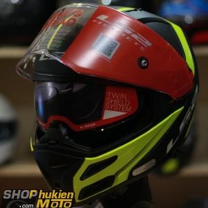 Mũ bảo hiểm Lật Cằm LS2 FF324 METRO (Đen nhám viền vàng) (Size: M/L/XL)
