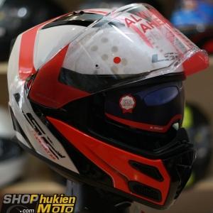 Mũ bảo hiểm Lật Cằm LS2 FF324 METRO (Trắng bóng viền đỏ) (Size: M/L/XL)