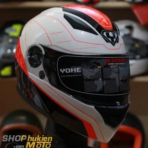 Mũ bảo hiểm lật cằm YOHE 950 Trắng đỏ đen bóng) (Size: S/M/L/XL)