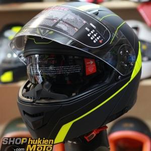 Mũ bảo hiểm lật cằm YOHE 950 (Đen nhám viền vàng) (Size: S/M/L/XL)