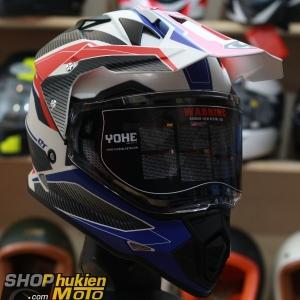 Mũ Cào Cào DUAL SPORT YOHE 632A (Trắng đỏ/đen xanh nhám) (Size: S/M/L/XL/XXL)
