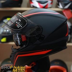 Mũ bảo hiểm Fullface YOHE 967 2 kính (đỏ vàng/ đen nhám) (Size: S/M/L/XL)