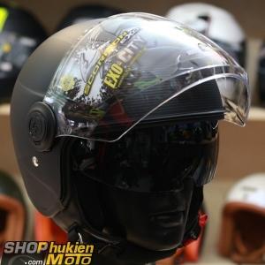 Mũ bảo hiểm 3/4 scorpion exo 83 city wind (đen nhám sọc bạc) (Size: M/L/XL)
