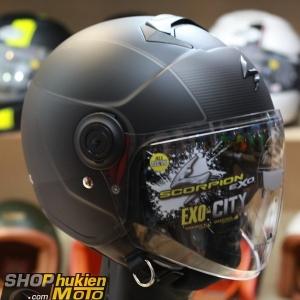 Mũ bảo hiểm 3/4 scorpion exo city wind (đen nhám sọc bạc) (Size: M/L/XL)