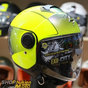 Mũ bảo hiểm 3/4 scorpion exo city wind (đen vàng bóng) (Size: M/L/XL)