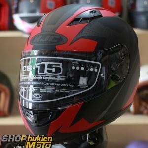 Mũ bảo hiểm fullface HJC CS-15 Treague MC1SF (đen đỏ xám nhám) (Size: M/L/XL)