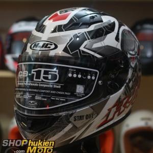 Mũ bảo hiểm fullface HJC CS-15 Rafu MC1 (đen xám trắng bóng) (Size: M/L/XL)