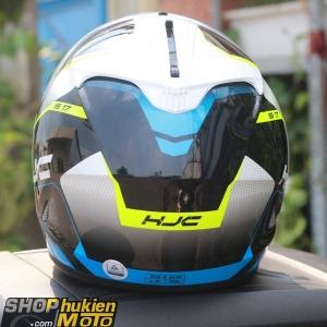 Mũ bảo hiểm HJC IS-17 Loktar (Trắng bóng viền xanh đen) (size: M/L/XL)