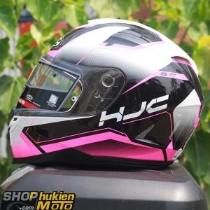 Mũ bảo hiểm HJC IS-17 Loktar (Trắng bóng viền hồng đen) (size: M/L/XL)