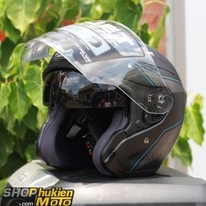 Mũ bảo hiểm 3/4 HJC FG JET (Đen xám nhám viền xanh) (Size: M/L/XL)