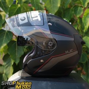 Mũ bảo hiểm 3/4 HJC FG JET (Đen xám nhám viền đỏ) (Size: M/L)