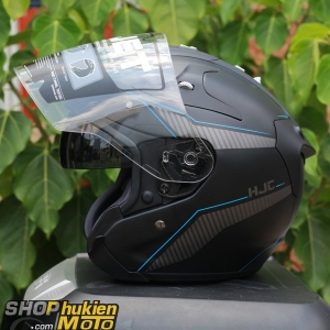 Mũ bảo hiểm 3/4 HJC FG JET (Đen xám nhám viền xanh) (Size: M/L)