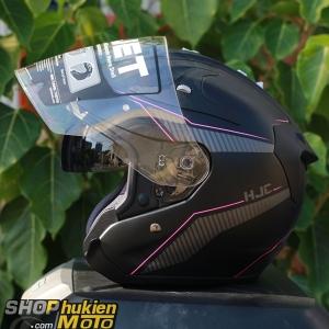 Mũ bảo hiểm 3/4 HJC FG JET (Đen xám nhám viền hồng) (Size: M/L)