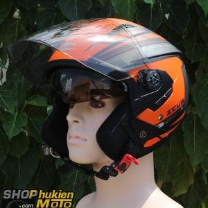 Mũ bảo hiểm 3/4 Zeus 205 (đen cam nhám ) (Size: S/M/L/XL/XXL)