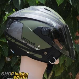 Mũ bảo hiểm 3/4 Zeus 205 (xanh lính ) (Size: S/M/L/XL/XXL)