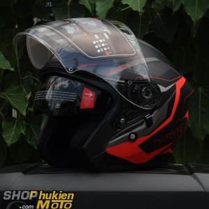 Mũ 3/4 YOHE 2 kính 878 (Đen nhám sọc xám đỏ) (Size: M/ L/ XL)