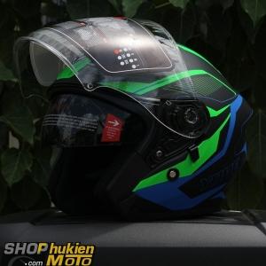 Mũ 3/4 YOHE 2 kính 878 (Đen nhám sọc xanh) (Size: M/ L/ XL)