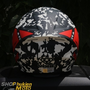 Mũ 3/4 YOHE 2 kính 878 (Camo sọc đỏ) (Size: M/ L/ XL)