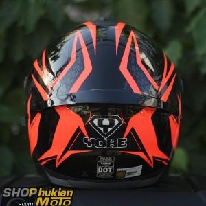 Mũ bảo hiểm Fullface YOHE 967 2 kính (2018) (Cam/đen bóng) (Size: M/L/XL)