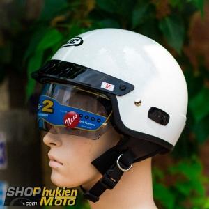 Mũ bảo hiểm 1/2 HJC IS-2 (Trắng bóng) (size M/ L/XL)