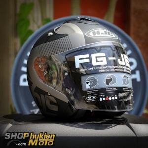 Mũ bảo hiểm 3/4 HJC FG-JET (Đen nhám viền xám) (Size: M/L/XL)