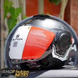 Mũ bảo hiểm 3/4 Sunda 227 (đen nhám sọc trắng đỏ) (size: L/XL)