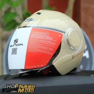 Mũ bảo hiểm 3/4 Sunda 621 (hột gà bóng) (size: L/XL)