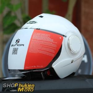 Mũ bảo hiểm 3/4 Sunda 621 (trắng bóng) (size: L/XL)