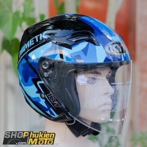 Mũ bảo hiểm 3/4 KYT VENOM (MIMETIC BLUE GLOSS) (Size: L/XL)