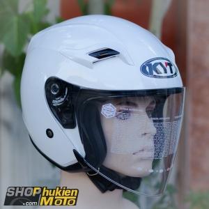 Mũ bảo hiểm 3/4 KYT VENOM (PLAN WHITE GLOSS) (Size: L/XL)