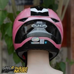 Nón bảo hiểm Sunda 811 (Hồng bóng viền đen) (size: L/XL)