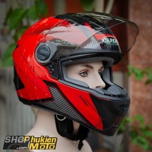 Nón bảo hiểm Sunda 811 (Đỏ bóng xám đen) (size: L/XL)