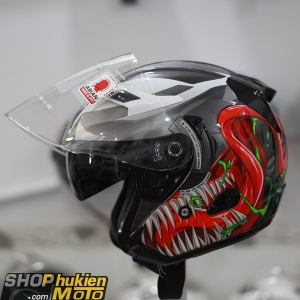 KYT 3/4 Venom Marvel ( KYT 3/4 2 kính )